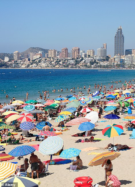 ... but holidaymakers in Spain (pictured) may have to quarantine even if double-jabbed