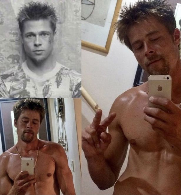 Nathan posing beside a picture of Brad Pitt from Fight Club
