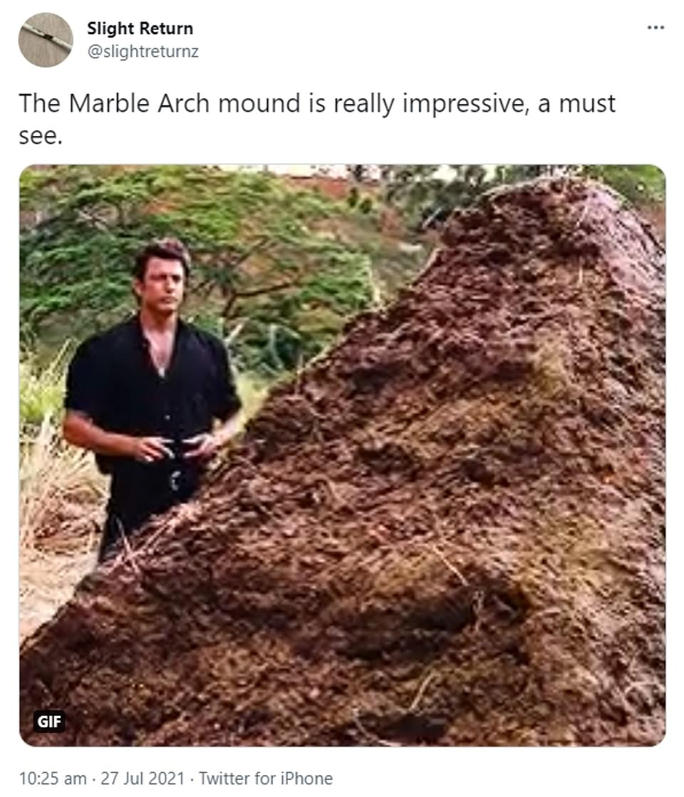 Slight Return left no doubt of their opinion on the Marble Arch Mound with this meme showing dinosaur dung in Jurassic Park