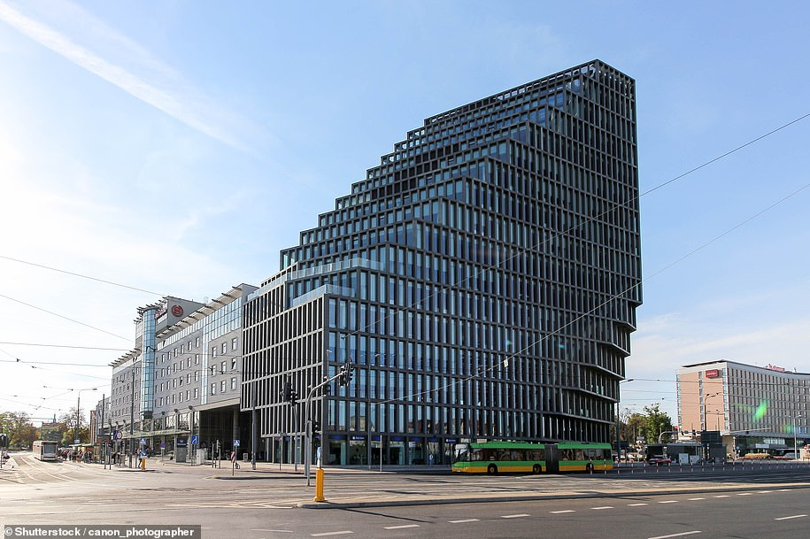 """Baltyk (""""Baltic"""") office block, designed by MVRDV architects and chosen as the best designed building built in Poland in 2017"""