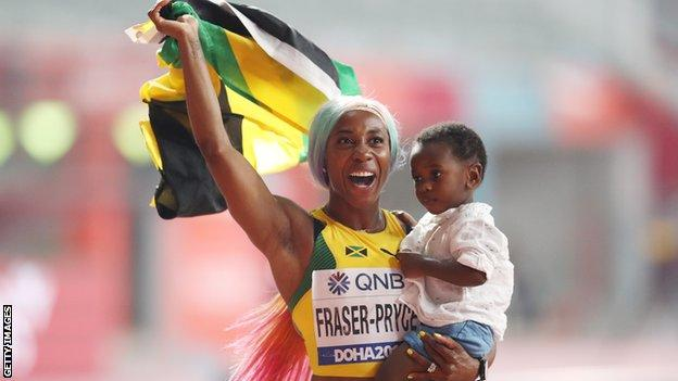 Shelly-Ann Fraser-Pryce and her son