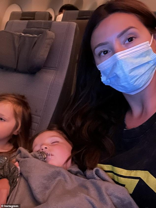 Separated: George's wife Joanna and their other two children, Birdie and Blainey, are quarantining in another hotel