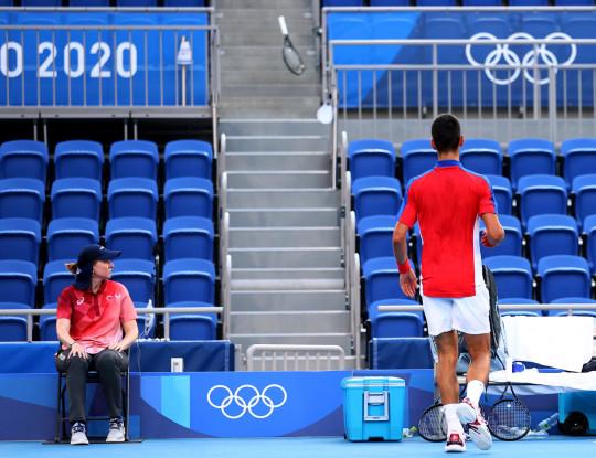 Tokyo 2020 Olympics - Tennis - Men's Singles - Bronze medal match - Ariake Tennis Park - Tokyo, Japan - July 31, 2021. Novak Djokovic of Serbia reacts during his bronze medal match against Pablo Carreno of Spain REUTERS/Edgar Su