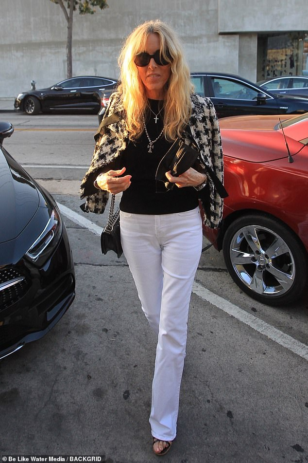 Rock chick: Alana Stewart, 76, looked chic in a dogtooth jacket as she stepped out for a meal at West Hollywood's exclusive restaurant Craig's on Wednesday night