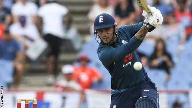 England batsman Alex Hales plays a shot during a one-day international