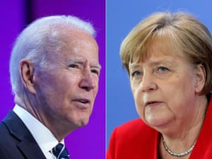 This combination of pictures shows US President Joe Biden and German Chancellor Angela Merkel.