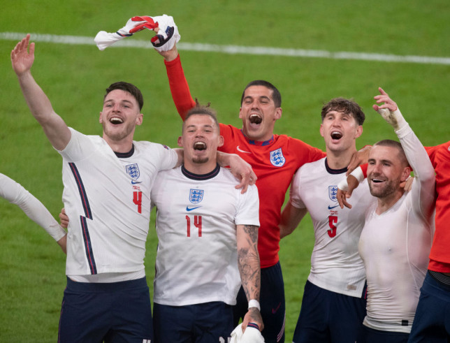 England players Declan Rice, Kalvin Phillips, Conor Coady, John /stones and Luke Shaw celebrate after the UEFA Euro 2020 Championship Semi-final match between England and Denmark at Wembley Stadium on July 07, 2021 in London, England. (