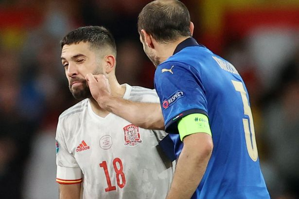 Chiellini was surprisingly blase and joked with Alba ahead of the penalty shootout