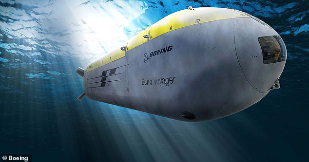 China is developing underwater AI robots that can hide in the sea and attack enemy vessels with torpedoes without human guidance (pictured, an 'Orca' undersea drone being built by Boeing for the US Navy)