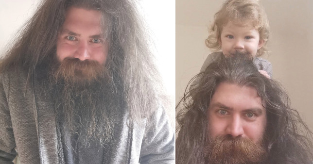Aaron with his beard and with his daughter