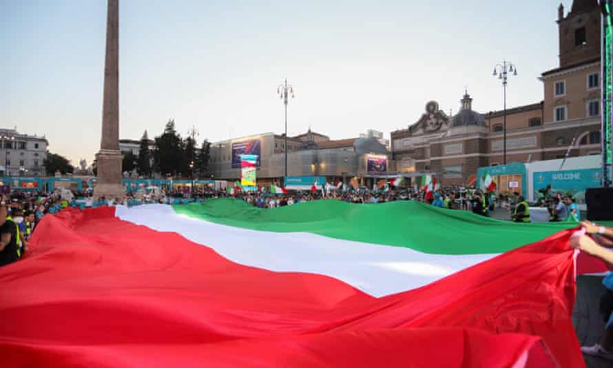 A flag at the Rome fan zone in Vai dei Fori Imperiali.