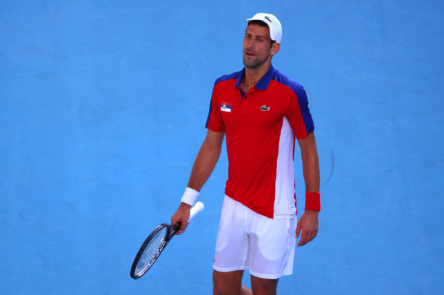 Novak Djokovic of Team Serbia reacts against Pablo Carreno Busta of Team Spain during the Men's Singles Bronze Medal Match on day eight of the Tokyo 2020 Olympic Games at Ariake Tennis Park on July 31, 2021 in Tokyo, Japan.