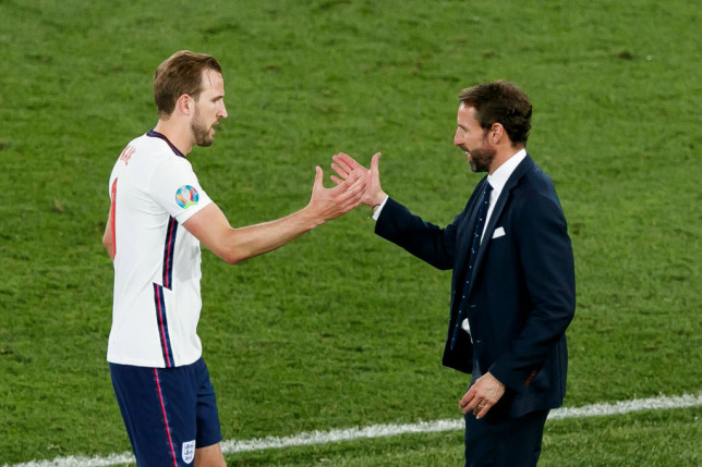 Harry Kane and Gareth Southgate shake hands after England's Euro 2020 win over Ukraine