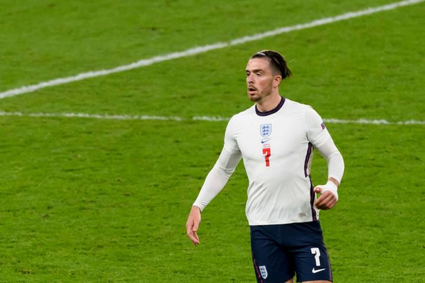 LONDON, ENGLAND - JULY 07: (BILD ZEITUNG OUT) Jack Grealish of England looks on during the UEFA Euro 2020 Championship Semi-final match between England and Denmark at Wembley Stadium on July 7, 2021 in London, United Kingdom. (Photo by Vincent Mignott/DeFodi Images via Getty Images)
