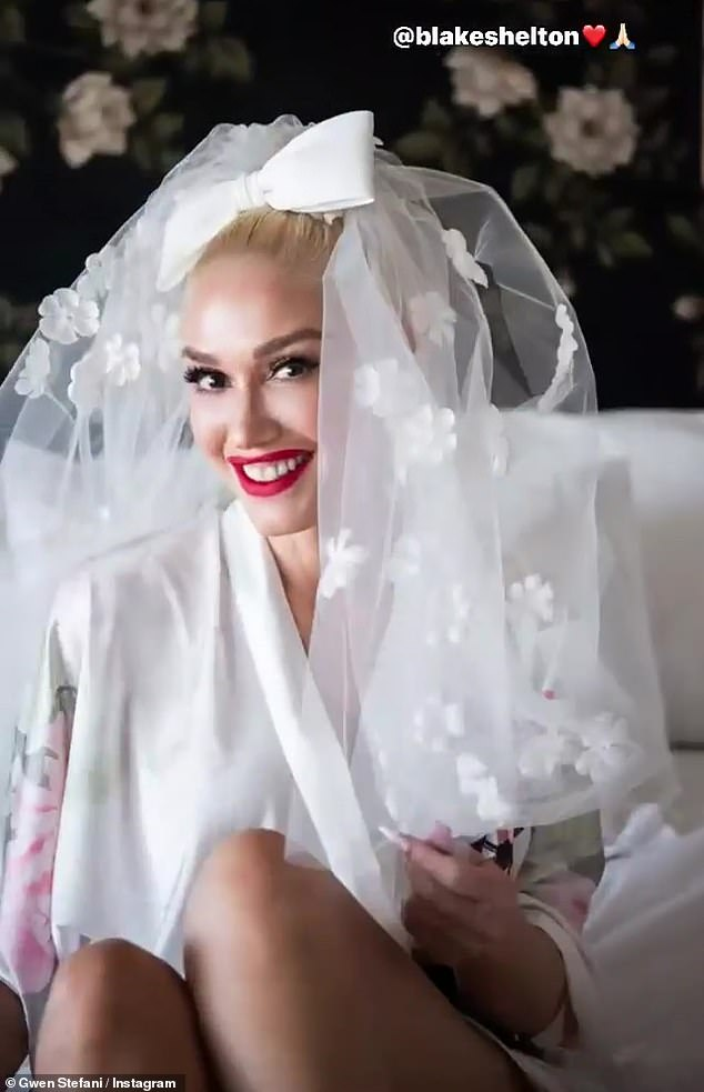 Here comes the bride! Gwen Stefani was every inch the blushing bride as she prepared to exchange vows with Blake Shelton on Saturday