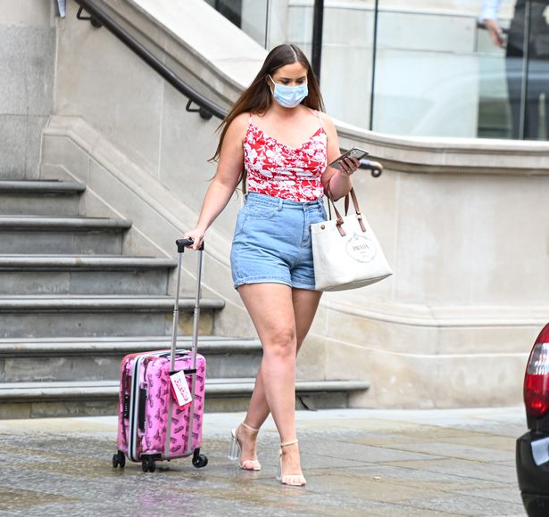 Jacqueline Jossa stepped out in a pair of denim shorts after her fancy hotel stay