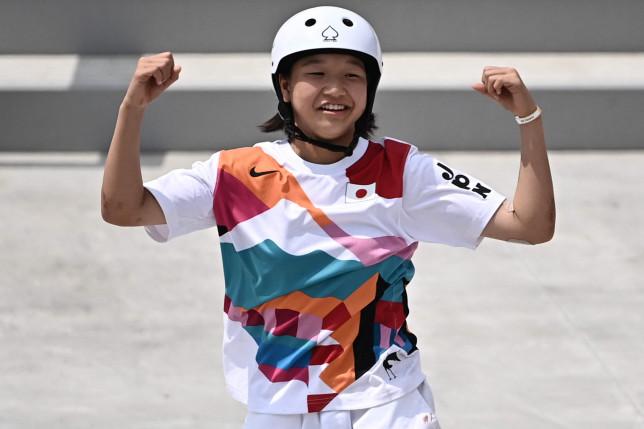 Japan's Momiji Nishiya won gold in the women's skateboarding street final