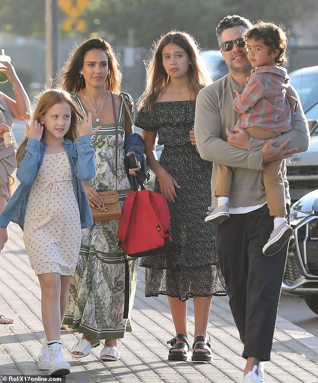 Family outing! Jessica Alba steps out with husband Cash Warren and their children, daughters Honor Marie, 13, Haven Garner, nine, and three-year-old son Hayes