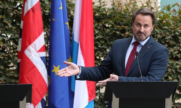 Luxembourg's Prime Minister Xavier Bettel gestures at a news conference after his meeting with British Prime Minister Boris Johnson in Luxembourg