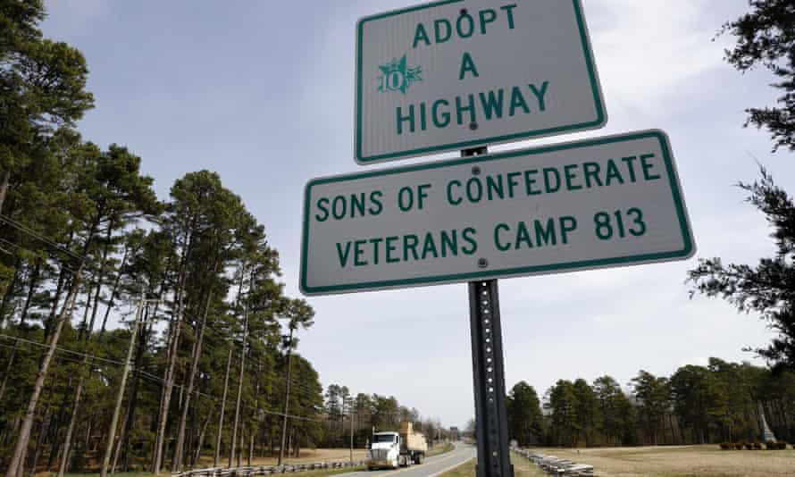 A section of highway that has been adopted by the Sons of Confederate Veterans Camp 813 is seen in Alamance County, North Carolina, last year.