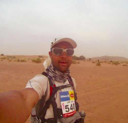 Luke Tyburski during an utlramarathon in the desert.