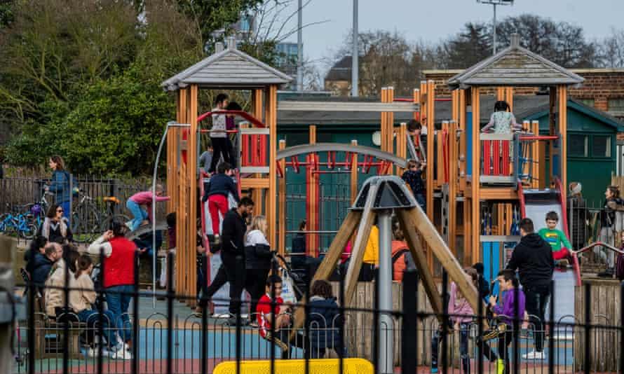 Children in playground on Hampstead Heath, London