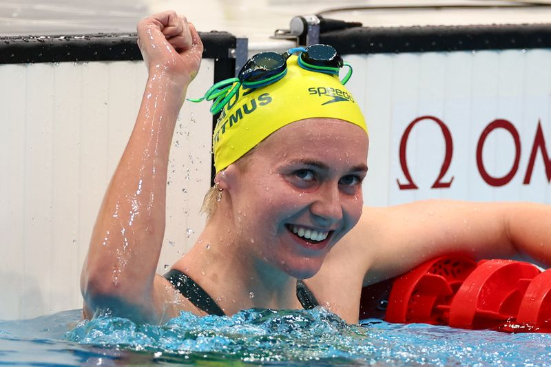 Olympics-Swimming-Titmus downs Ledecky in first showdown, 'Re-Peaty' gold for Britain