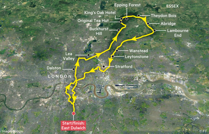 Globetrotter cycling map showing route into Essex: Epping Forest, Theydon Bois and Abridge
