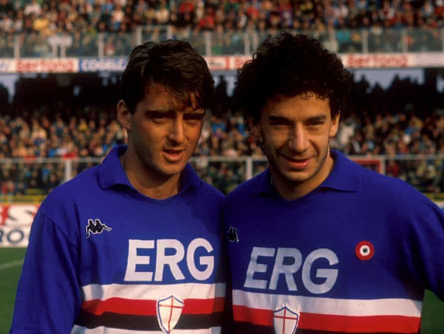 Gianluca Vialli and Roberto Mancini in Sampdoria colours.