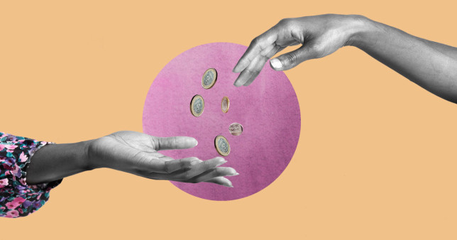 Hands giving money over an pink and orange background.
