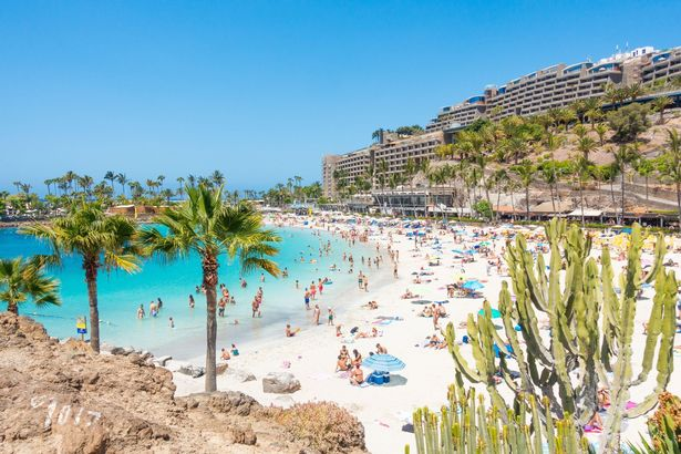Glorious sunshine on Anfi beach near Puerto Rico on Gran Canaria