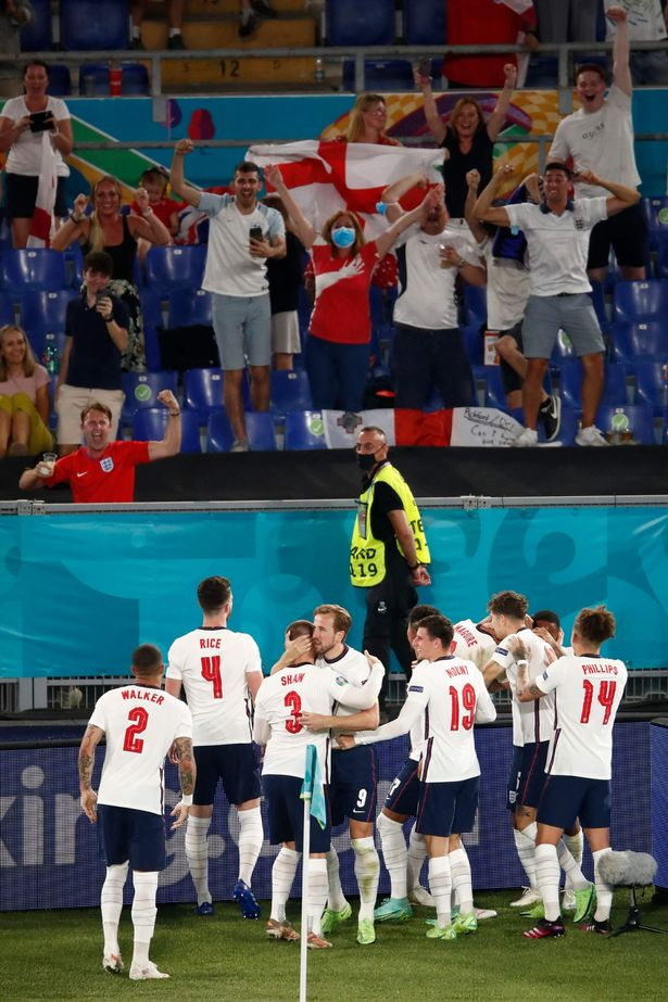 England players celebrate during their 4-0 victory over Ukraine in the Euro 2020 quarter final