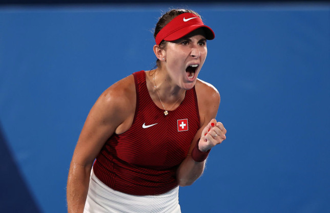 Belinda Bencic of Team Switzerland celebrates after a point during her Women's Singles Gold Medal match against Marketa Vondrousova of Team Czech Republicon day eight of the Tokyo 2020 Olympic Games at Ariake Tennis Park on July 31, 2021 in Tokyo, Japan.