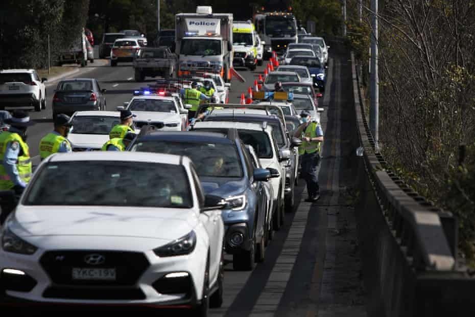 NSW police conducted roadside checks with drivers heading towards the Anzac Bridge while the exclusion zone was in place.