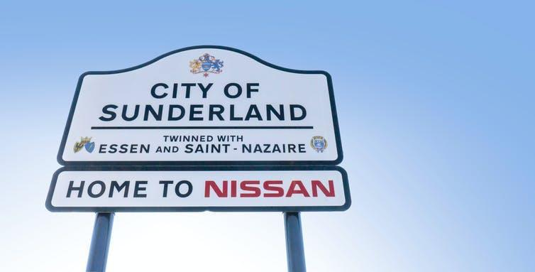 Sunderland city sign, with 'Home to Nissan' sign below.