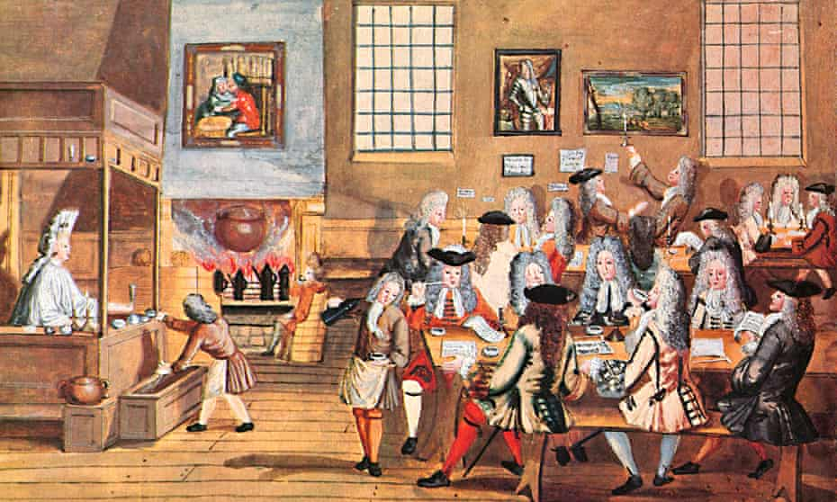 A coffee house in 17th-century London.