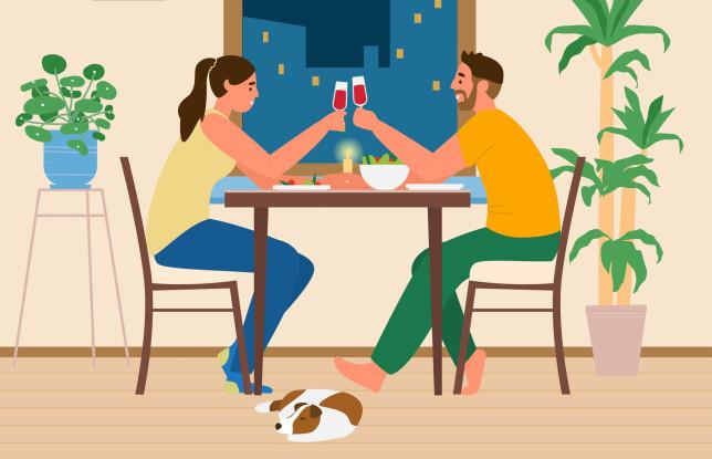 Couple Having Romantic Dinner At Home.