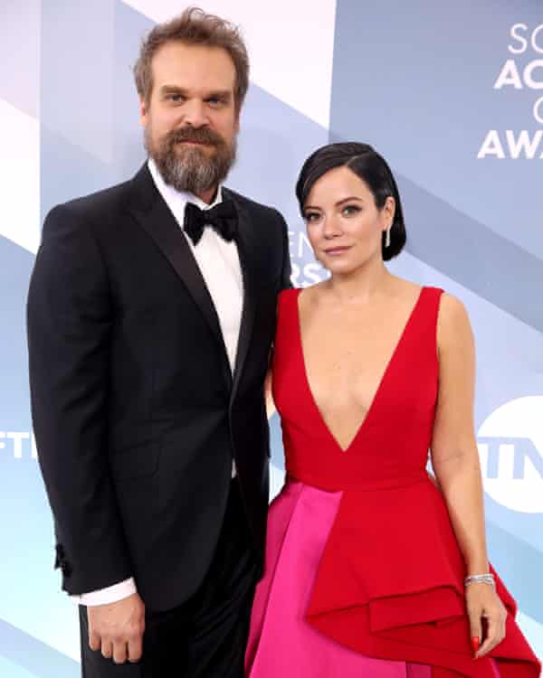 Lily Allen and David Harbour attend the 26th annual Screen Actors Guild awards in Los Angeles, California, in 2020.