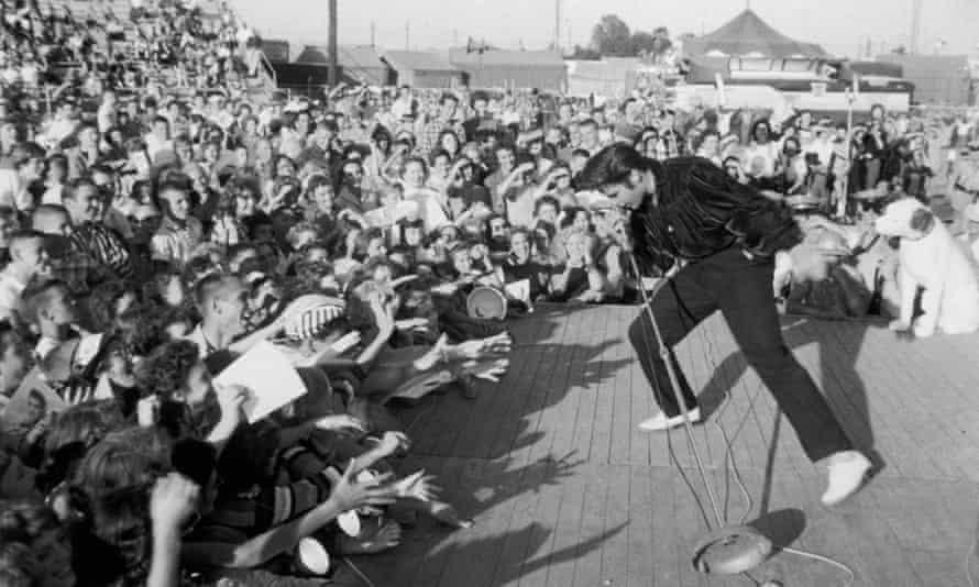 Elvis Presley performing, c1957