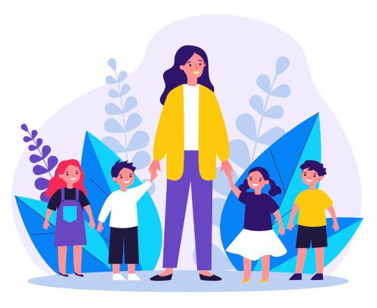 Kindergarten teacher walking with kids