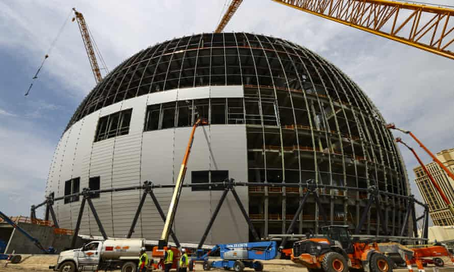 Construction work on the Las Vegas Sphere.