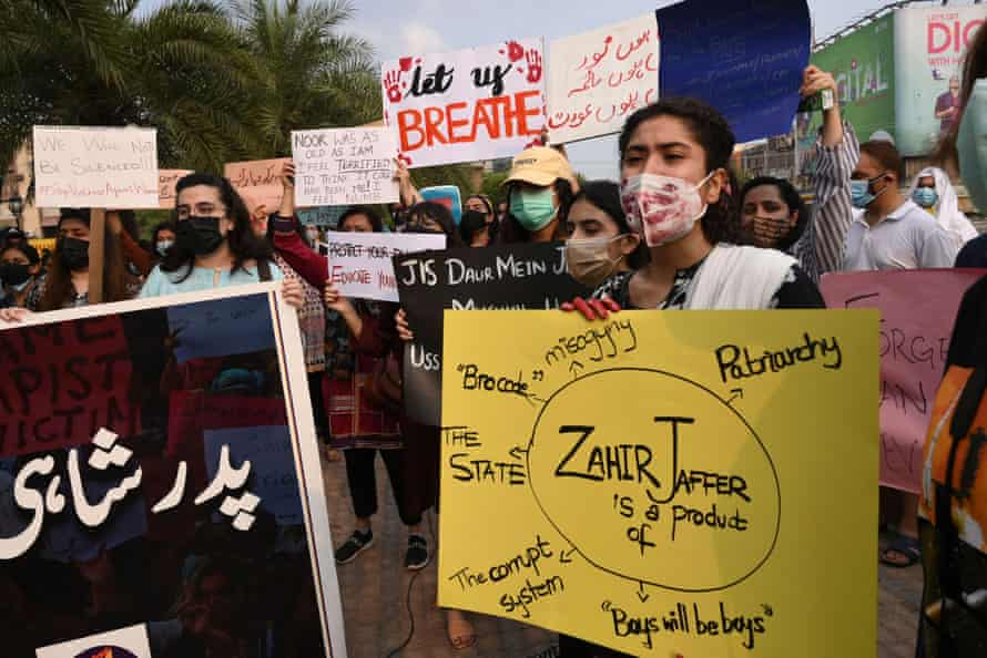 Rights activists in Lahore at a protest against violence towards women after the death of Noor Mukadam.