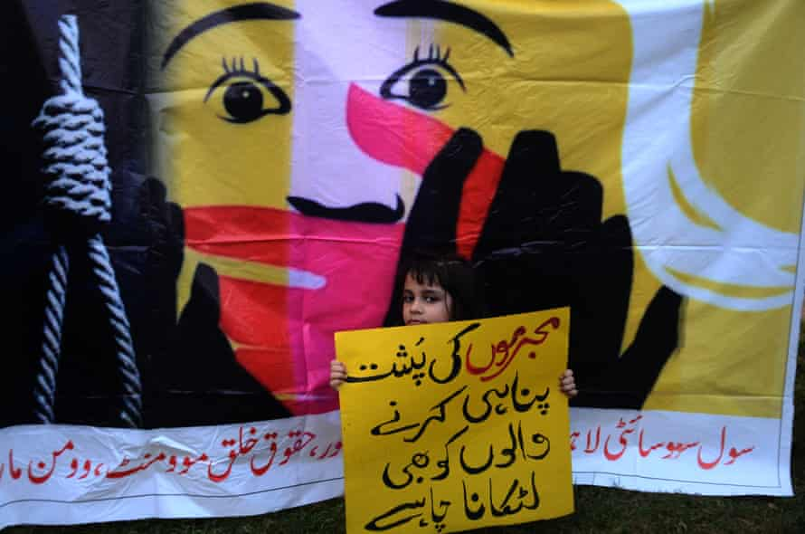 A protester in Lahore at a demonstration