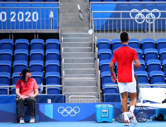 Novak Djokovic threw his racquet into the stands during his bronze medal match