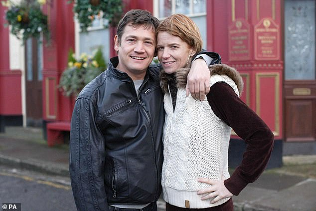 Sid, who's actual name is David, grew up in Islington and recalled that his father could be violent when he had been drinking (pictured with Patsy Palmer who plays Bianca in the soap)