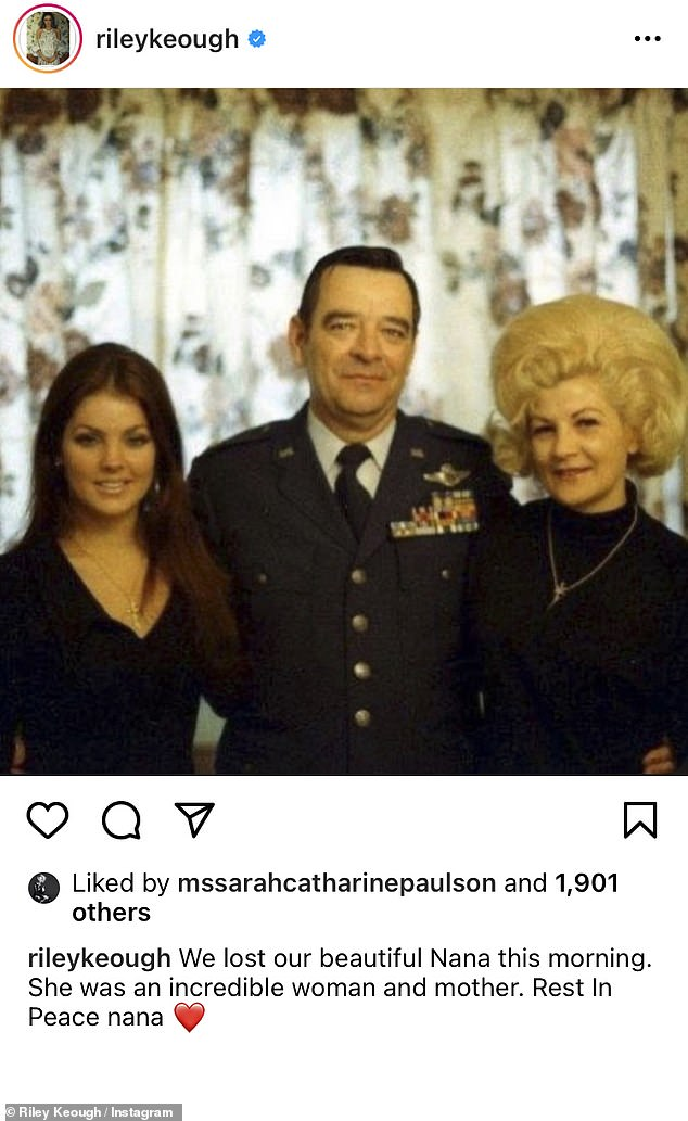 Tribute:Riley, who is Priscilla's granddaughter also to Instagram to share the news with her followers, writing that 'she was an incredible woman and mother'
