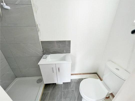 the bathroom in a studio flat where the door is a WINDOW