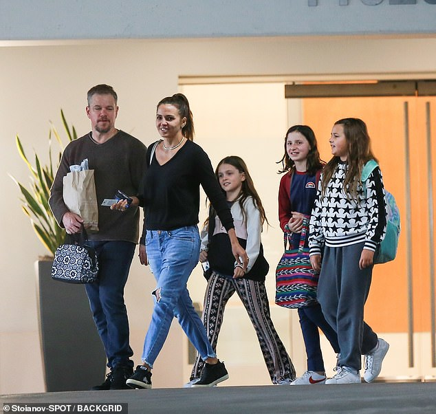 The little ones:Matt and his wife Luciana Barroso, 45, have daughters Isabella, 14, Gia, 12, and Stella, 10. She has daughter Alexia from a previous relationship with Arbello Barroso
