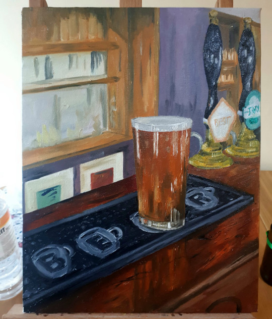 Brewer spends furlough painting incredible pub scenes - painting by Theo Barnes