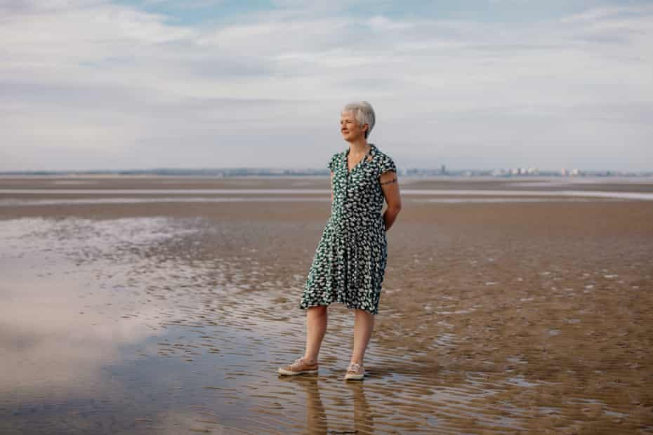 Care home nurse Charlotte Hudd on Ryde Beach in the Isle of Wight.